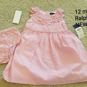 12 mon Ralph Lauren seersucker pink dress